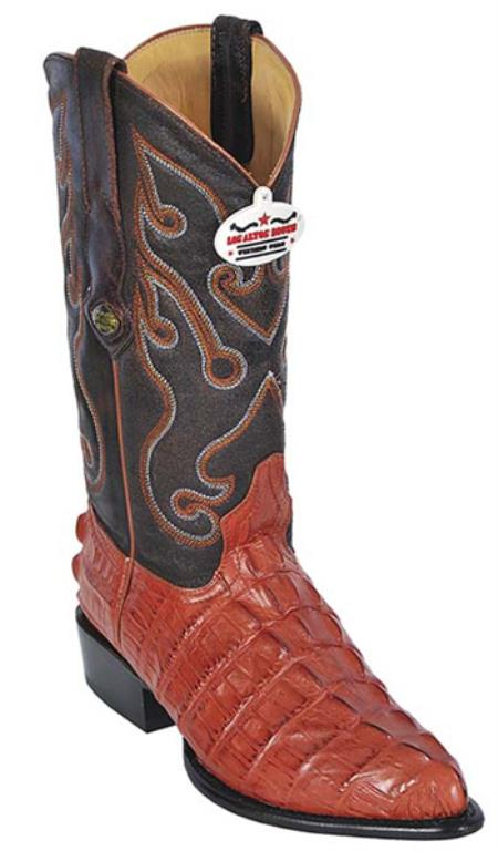Buy KA5663 Croc Tail Print Cognac Vintage Los Altos Men's Cowboy Boots Western Riding