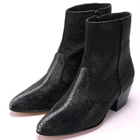 Buy MK830 Mens Los Altos Genuine Stingray mantarraya skin Inside Zipper Black Boot Ankle Dress Style Man