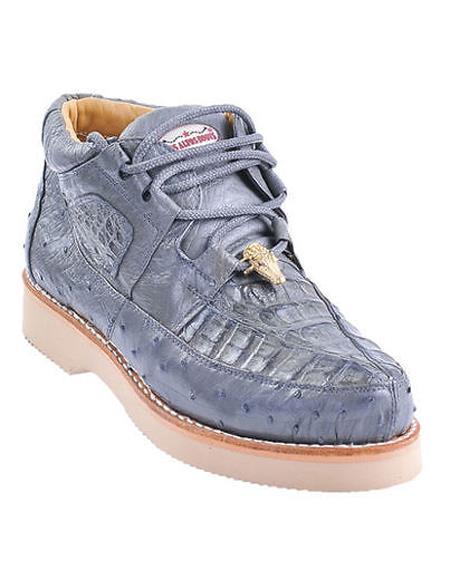 7e5be5fa45b Genuine GRAY Caiman Crocodile Ostrich Casual Los Altos Shoes Lace Up for Men