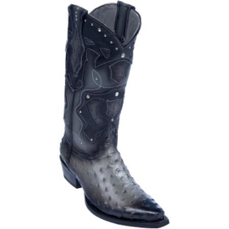 070120129ce Los Altos Boots-Men's Ostrich Leg Snip-Toe Cowboy Boots – Gray Faded