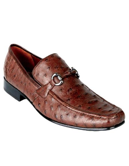Mens Genuine Ostrich Dress Slip On Casual Stylish Dress Loafer Handmade EE Los Altos Shoes