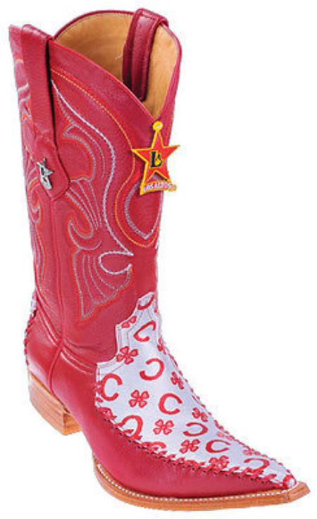 Buy KA2887 Fashion Design Leather Red Los Altos Mens Western Boots Cowboy Style 3x Toe