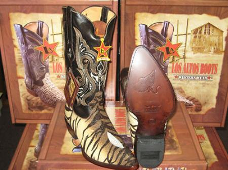 Los Altos Genuine Stingray mantarraya skin Single Stone Western Cowboy Tiger pattern Boot