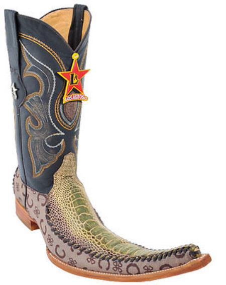 Mens Western Cowboy Boots Los Altos Genuine Ostrich Leg Fashion Rustic