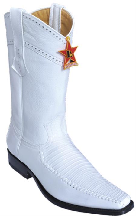 Teju Lizard Vintage White Los Altos Mens Cowboy Boots Western Classics Fashion