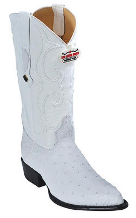 Full Quill Ostrich Vintage White Los Altos Mens Cowboy Boots Western Classics