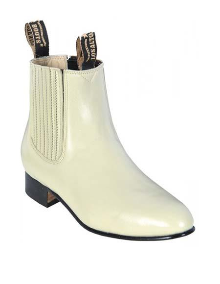 Los Altos Mens Winterwhite Genuine Deer Chelsea Charro Leather Sole Short Boot ~ botines para hombre