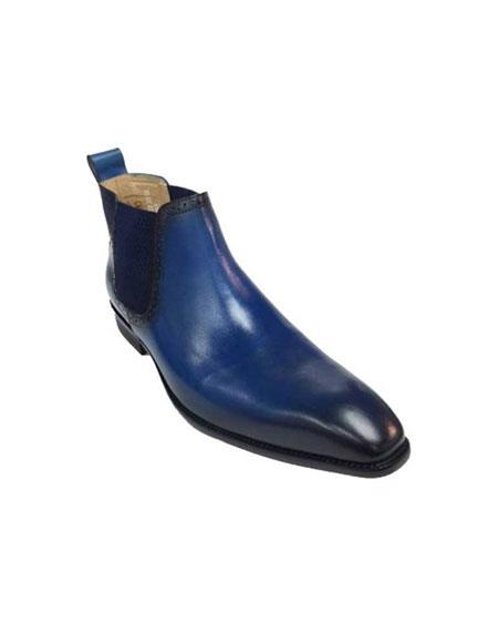 Mens Carrucci Burnished Calfskin Slip-On Blue With Black Low-Top Chelsea Boots