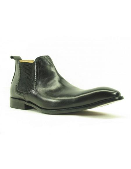 Men's Black Carrucci Burnished Calfskin Slip-On Low-Top Chelsea Cheap Priced Men's Dress Boot With jeans or Suit Best Fashion Dressy Leather Boot!