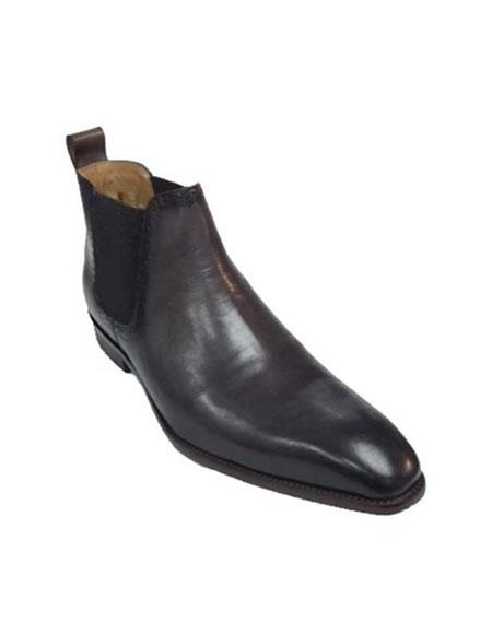 Mens Carrucci Burnished Calfskin Slip-On Low-Top Chelsea Black Cheap Priced Mens Dress Boot With jeans or Suit Best Fashion Dressy Leather Boot!