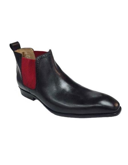 Men's Black With Red Carrucci Burnished Calfskin Slip-On Low-Top Chelsea Cheap Priced Mens Dress Boot With jeans or Suit Best Fashion Dressy Leather Boot!  - Red Mens Prom Shoe