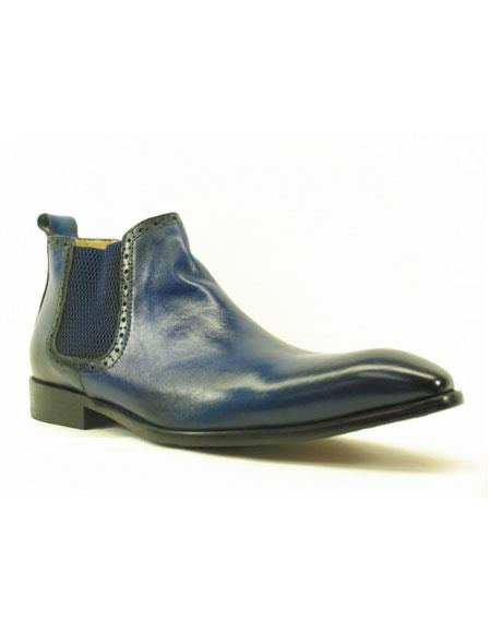 Men's Blue ~ Black Carrucci Burnished Calfskin Slip-On Low-Top Chelsea Cheap Priced Men's Dress Boot With jeans or Suit Best Fashion Dressy Leather Boot!