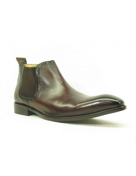 Men's Carrucci Burnished Calfskin Slip-On Brown ~ Black Low-Top Chelsea Cheap Priced Mens Dress Boot With jeans or Suit Best Fashion Dressy Leather Boot!