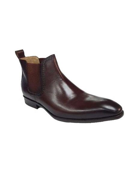 Mens Brown ~ Black Carrucci Burnished Calfskin Slip-On Low-Top Chelsea Boots