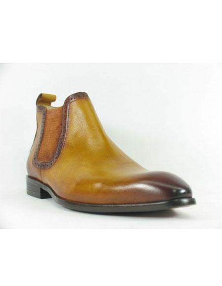 Men's Cognac Carrucci Burnished Calfskin Slip-On Low-Top Chelsea Cheap Priced Men's Dress Boot With jeans or Suit Best Fashion Dressy Leather Boot!