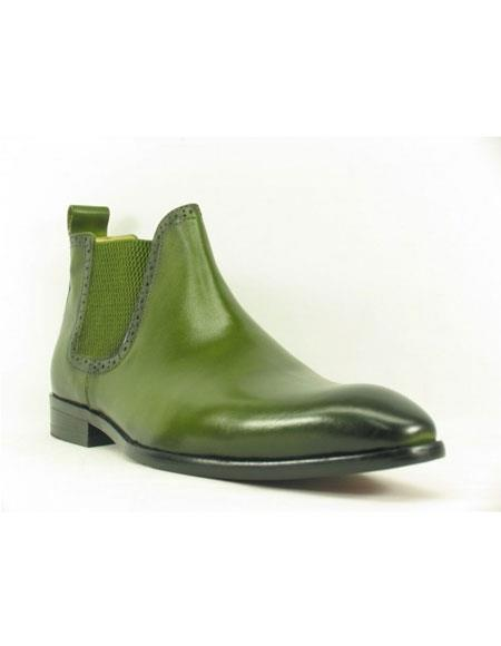 Men's Carrucci Burnished Calfskin Green Slip-On Low-Top Chelsea Boots