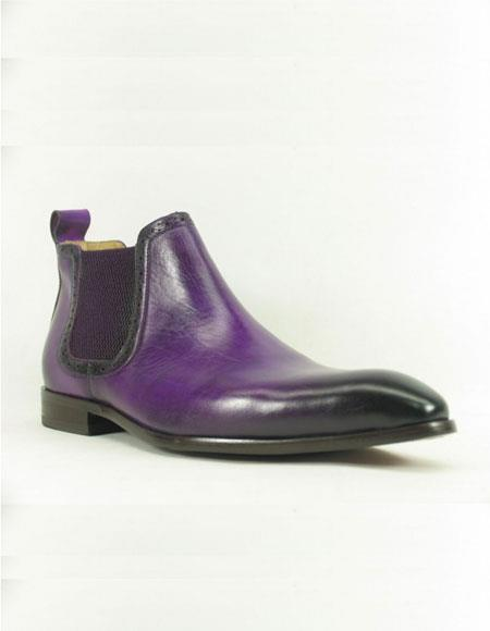 Mens Purple ~ Black Carrucci Burnished Calfskin Slip-On Low-Top Chelsea Cheap Priced Mens Dress Boot With jeans or Suit Best Fashion Dressy Leather Boot!