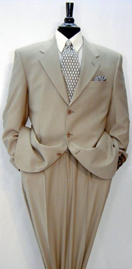 SKU# SNN123 Luxeriouse High End UMO Collezion  3-Button full canvas 100% Wool Solid Tan ~ Beige premei $295