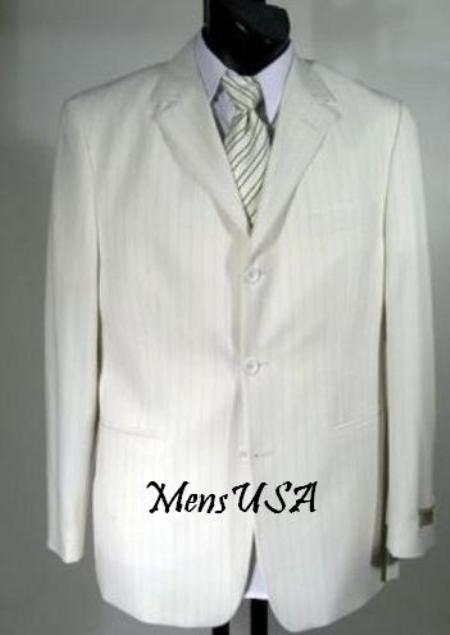 SKU# COA911 Luxurious GORGEOUS White & Black Pinstripe 3 Button Vested HOTT ITEM $199