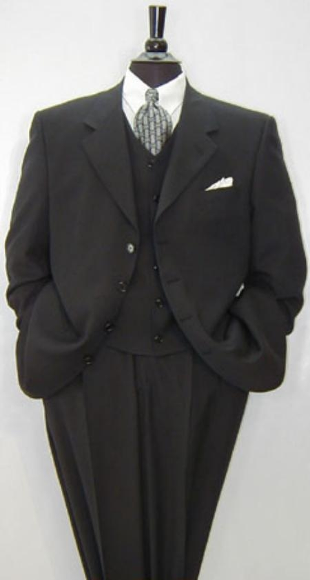 SKU# GH78 Luxurious High End UMO Collezion  Mens 3-Button Super 150s Wool & Cashmere Solid Black