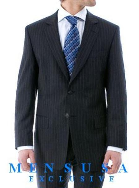 SKU# ZB22 Luxurious High Quality Navy Blue Pinstripe Light Weight Double Vented Ultra Smooth Fabric $159