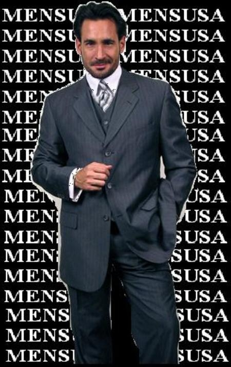 SKU#QQY733 Luxurious Navy Blue With Smooth Pinstripe 3 Piece Vested Business Suits Double Side Vent $139
