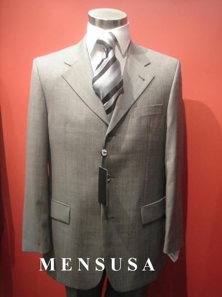 SKU# KV-341 Luxurious Medium Gray Weave Pattern 3 Button Light Gray~Gray Mens Suits $175