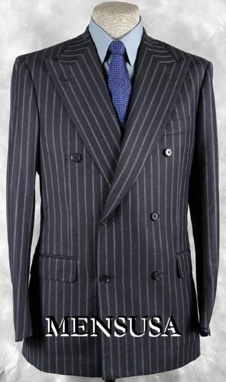 SKU# KAF378 Luxurious Real 100% premier quality italian fabric Design Navy Blue Pinstripe Suit Super 120s Wool $495