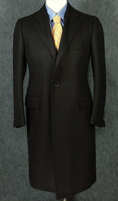 SKU# ZC350 Luxurious Full-Length Black Cashmere and Wool Blend Over Coat $199