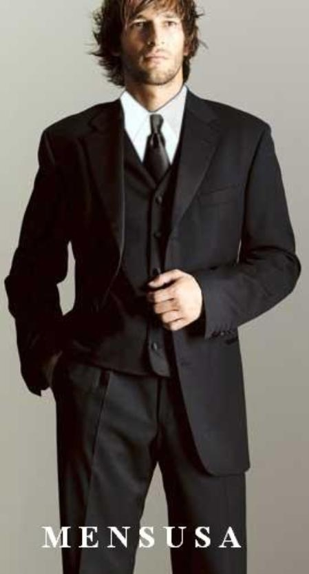 SKU# MU34 Luxurious Mens 3 Button Super 150s Worsted Wool Tuxedo