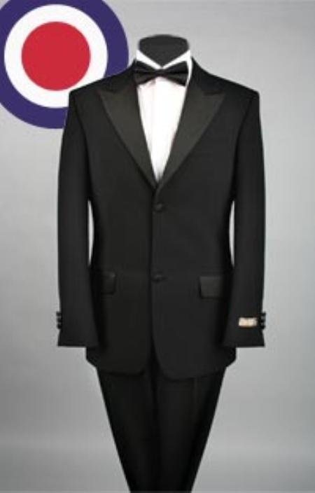 SKU#RH8122T Luxurious Peak Lapel Super Fine Wool Tuxedo, 2 Button, Most Expensive $275