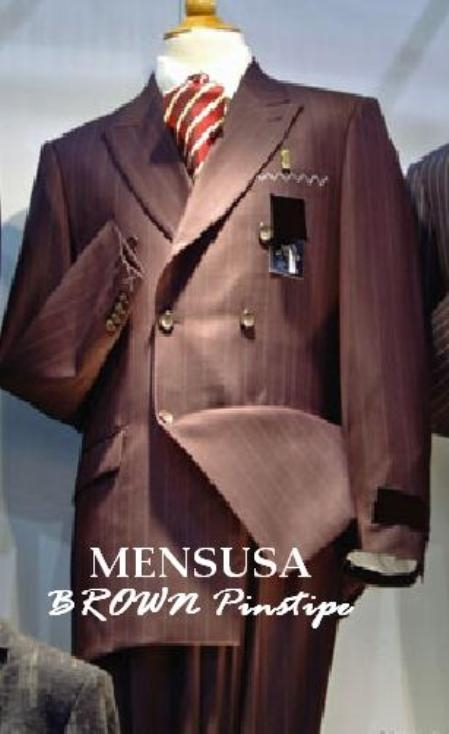 SKU# ZT82 Luxurious Real 100% premier quality italian fabric Design Dark Brown Pinstripe Suit Wool Feel ~ Poly Rayon