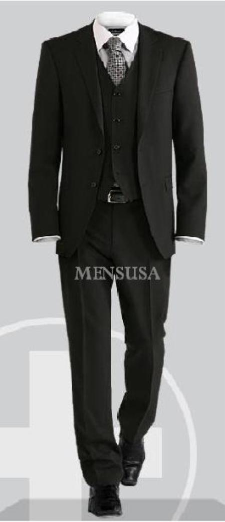 SKU# BEV774 Luxurious Top Quality UMO Collezion 2 Button Solid Vested Suits 100% Wool Mens Suits Com $295
