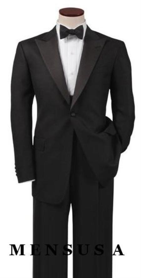 SKU#FEL1 Luxurious  UMO Collection Classic Black Peak Lapel Tuxedo Single-breasted Side Vents $299