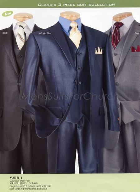 SKU#YP2927 Luxurious Wool Feel Vinci Mens Suits - Black, Midnight Blue, Gray $149