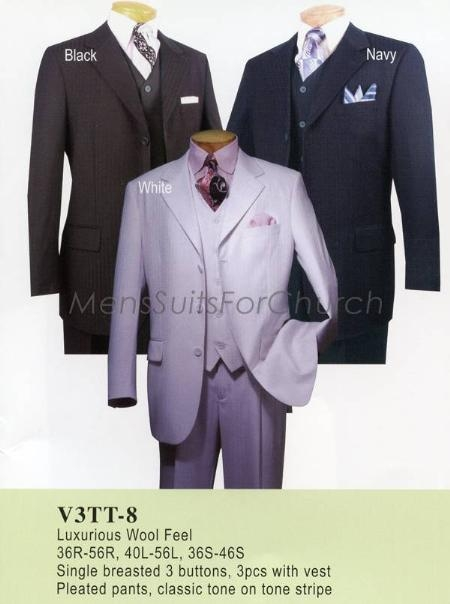 SKU#QP2970 Luxurious Wool Feel Vinci Mens Suits - Black, Navy $149