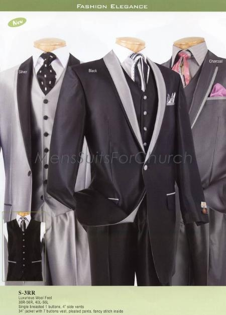 SKU#YX7890 Luxurious Wool Feel Mens Suits Vinci - Silver, Black, Charcoal $149