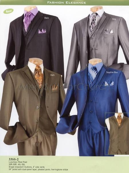 SKU#EL23879 Luxurious Wool feel Mens Suits Vinci Black, Gray, Herb, Sapphire Blue $149