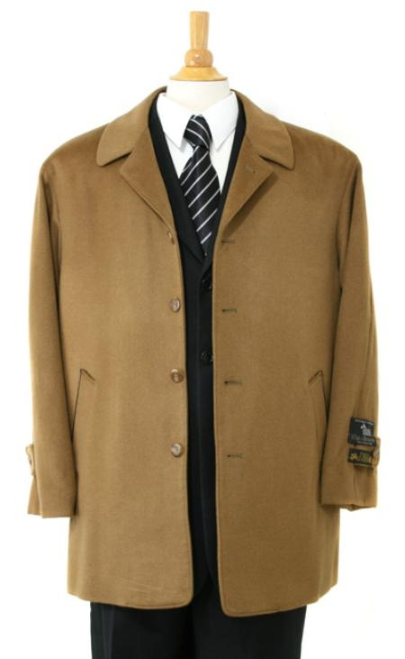 SKU#MNB011 Car coat Luxurious high-quality Cashmere&Wool half-length notch lapel Camel ~ Khaki Color Carcoat t