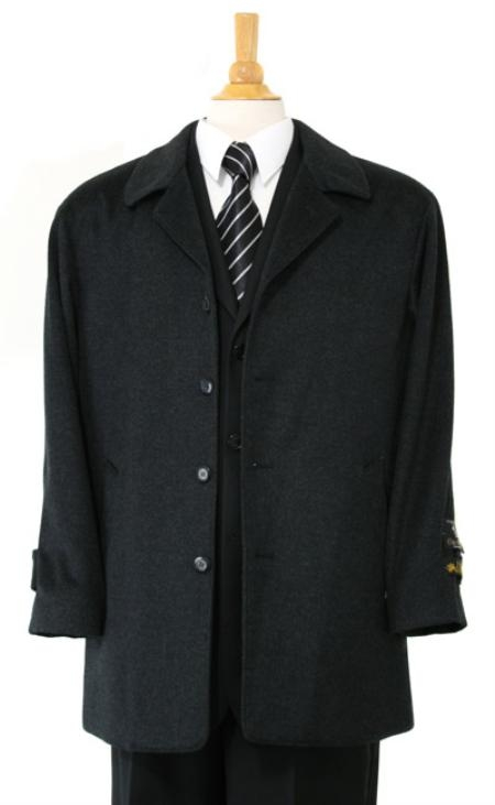 MensUSA.com Zilos Sloan Luxurious high quality CashmereandWool half length notch lapel Charcol Gray topcoat(Exchange only policy) at Sears.com