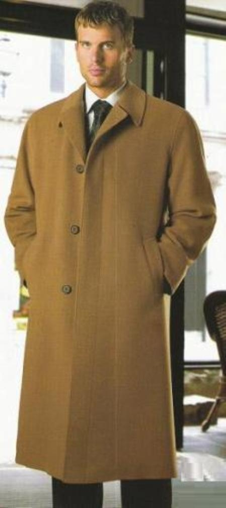 SKU#BLA123 Reg: $1495 Lanzino Luxurious High-Quality Pure 30% Cashmere Blend Notch Lapel Camel Topcoat $490