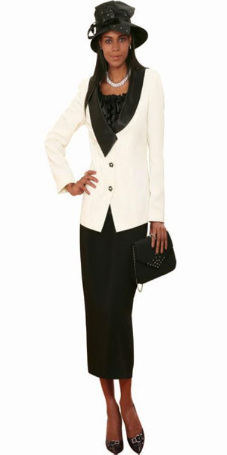 Lynda Couture Promotional Ladies Suits – Ivory With Black