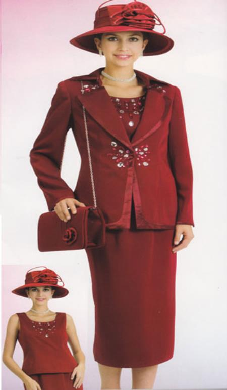 Lynda Couture Promotional Ladies Suits- Burgundy ~ Maroon ~ Wine Color