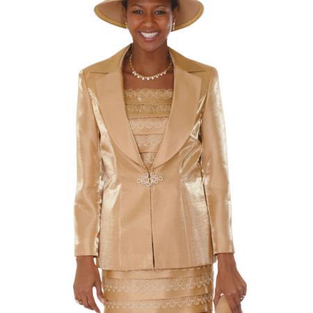SKU#VN-54 Lady Church Suits New Lyndas Classic Gold Church 3 Piece Dress Set
