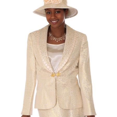 SKU#VK-32 Lady Church Suits New Lyndas Classic Gold Design Pattern Church 3 Piece Dress Set