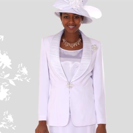 SKU#BQ-02 Lady Church Suits New Lyndas Classic White Elegance Church 3 Piece Dress Set