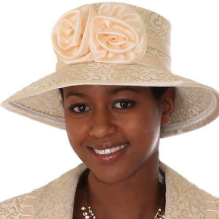 SKU#HA-15 New Lyndas Women Gold Derby Hat Brim Church Bridal Shower Hat