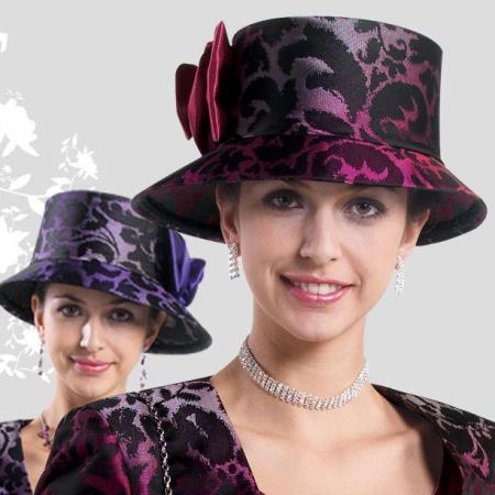 SKU#HA-10 New Lyndas Women Raspberry / Purple Kentucky Derby Church Hat