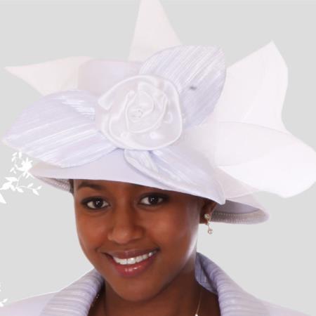 SKU#HA-13 Lyndas Womens White Kentucky Derby Brim Church Hat