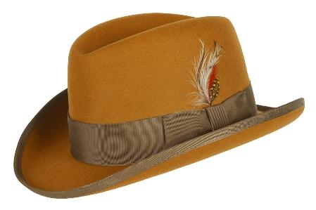 SKU# MAS833 GODFATHER NEW MENS Gold 100% Wool Homburg Dress Hat 4201 $49